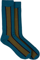 Paul Smith Men's Colorblocked Cotton-Blend Mid-Calf Socks-GREEN