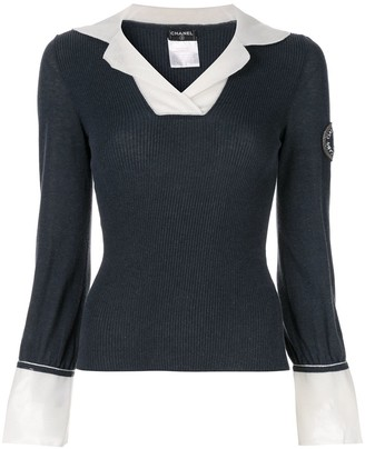 Chanel Pre-Owned layered shirt-effect jumper