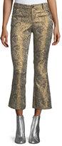 Alice + Olivia Drew Metallic Jacquard Cropped Bell Pants