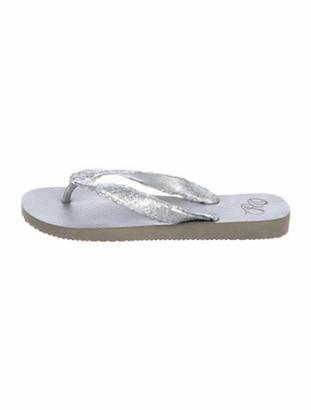 Rhonda Ochs Snakeskin Slide Sandals Silver
