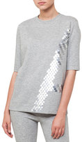 Akris Crewneck Elbow-Sleeve Sequin Embroidered Jersey Tunic