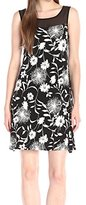 Vince Camuto Women's Short-Sleeve Dandelion Dress with Chiffon Yoke