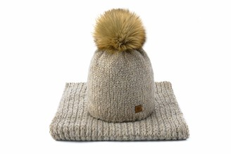 MFAZ Morefaz Ltd Set Scarf & Hat Women Wool Winter Beanie Hat Worm Knitted Neck Hats Fleece Pom Pom (Petra Beige)