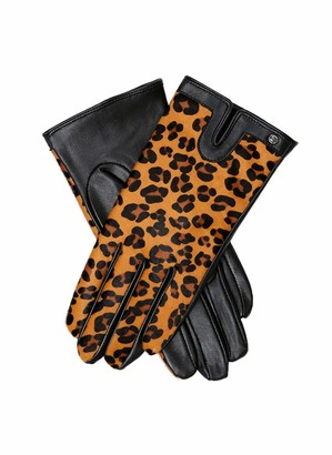 Dents Violet Women's Ponyskin & Leather Gloves BLACK/TAN L
