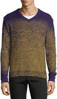 Versace Ombre-Knit V-Neck Wool Sweater
