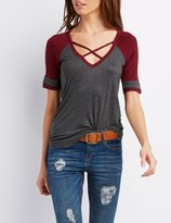 Charlotte Russe Strappy Caged Football Tee