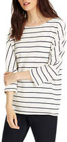 Phase Eight Trish Textured Stripe Top, Ivory/Navy