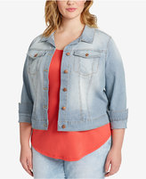 Jessica Simpson Trendy Plus Size Pixie Pinstripe Denim Jacket