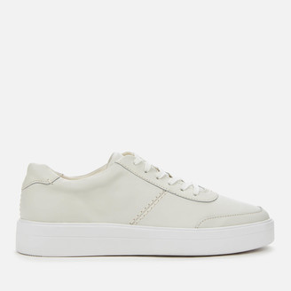 Clarks Women's Hero Walk Leather Flatform Trainers - White