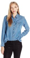Foxcroft Women's Petite Long Sleeve Denim Tencel Blouse