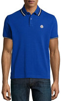 Moncler Short-Sleeve Tape-Tipped Polo Shirt, Blue