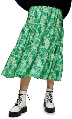 Topshop '70s Floral Tiered Midi Skirt