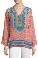 Tolani Mona V-Neck Printed Border Tunic, Plus Size