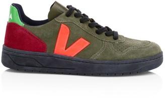 Veja V-10 Bastille Colorblock Suede Sneakers