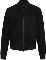 Tiger Of Sweden Burn Black Suede Bomber Jacket
