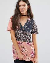 Asos T-Shirt In Spliced Floral Print