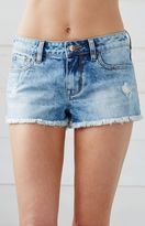 Bullhead Denim Co. Indigo Dust Ripped Low Rise Cutoff Denim Shorts
