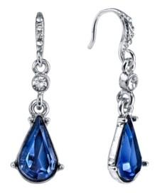 Downton Abbey Silver-Tone Blue Crystal Pear shape Drop Earrings
