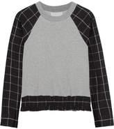 3.1 Phillip Lim Paneled Plaid Cotton-jersey Sweatshirt - Light gray