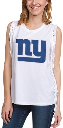 Junk Food Clothing Unbranded Women's White New York Giants Fringe Tank Top