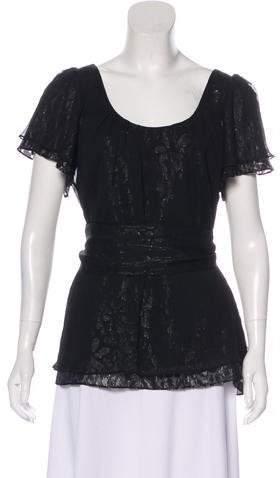 Halston Short Sleeve Silk-Blend Blouse