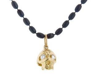 Erica Molinari Large Skull with Diamond Eyes - 14 Karat Gold