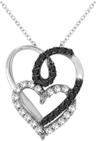 Zales 1/5 CT. T.W. Enhanced Black and White Diamond Looped Double Heart Pendant in 10K White Gold
