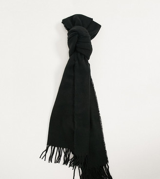 Reclaimed Vintage inspired unisex blanket scarf with logo tab in black