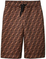 Fendi All Over Logo Print Shorts (Big Kids) (Brown Logo) Boy's Casual Pants