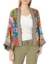 Johnny Was Women's Rayon Short Printed and Embroidered Kimono