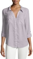 Joie Cartel Button-Front Plaid Cotton Blouse, Porcelain/Orchid