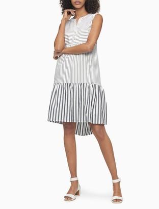 Calvin Klein Striped Button-Front Sleeveless Flounce Hem Dress