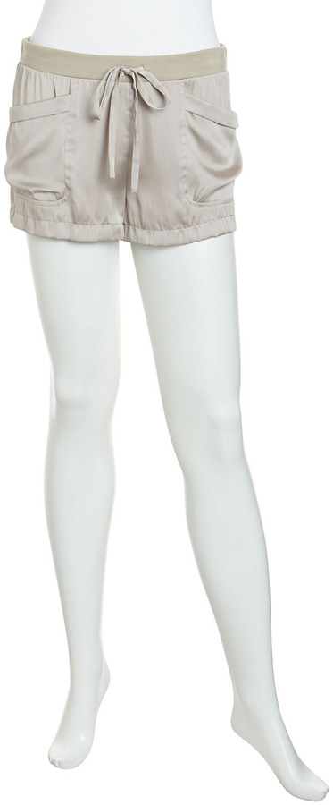 BCBGMAXAZRIA Satin Pull-On Shorts, Pumice