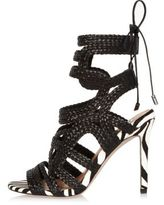 River Island Womens Black braided heel sandals