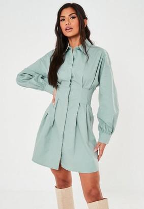 Missguided Sage Poplin Pleated Waist Shirt Dress