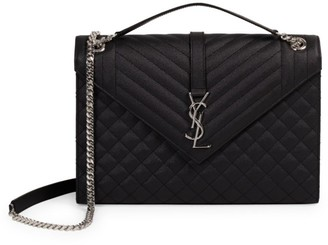 Saint Laurent Large Envelope Monogram Matelasse Leather Shoulder Bag