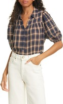 The Great The Mare Plaid Cotton Blend Top