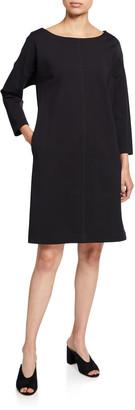 Natori Boat-Neck Long-Sleeve Solid Ponte Dress