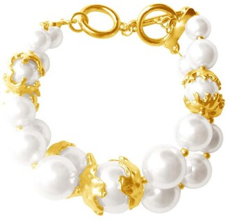 Karine Sultan Laura 24K Yellow Gold Plated Double Layered Faux Pearl Bracelet