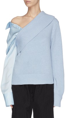 Hellessy Detachable panel sleeve one shoulder rib knit sweater