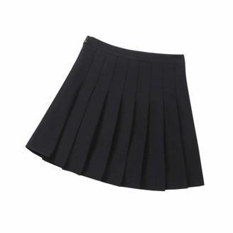 DQCUTE Girls Kids Basic High Waist Plain Pleated Skirt School Students Uniform A-Line Mini Dance Scooters Dress