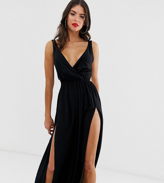 Asos Tall DESIGN TALL tie back cross front split maxi beach dress in black