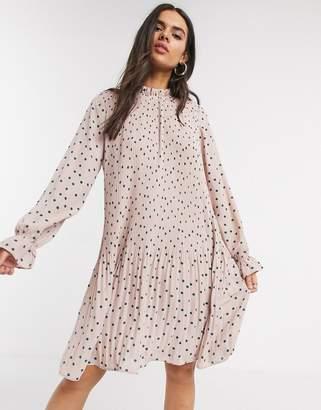 Vero Moda pleated mini dress with tie neck in pink spot print