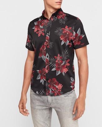 Express Slim Floral Wrinkle-Resistant Performance Shirt