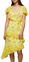 Miss Selfridge Printed Wrap Dress, Yellow