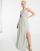 Thumbnail for your product : Little Mistress embellished yolk pleated maxi dress in sage green