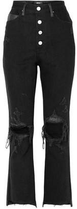 Amiri Leather-paneled Distressed High-rise Flared Jeans