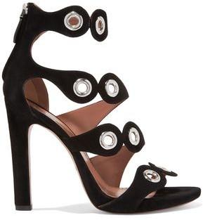 Alaia Eyelet-embellished Suede Sandals