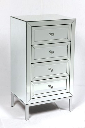 Home & Giftware Dorset 4 Drawer Mirrored Tallboy Chest