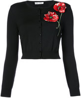 Oscar de la Renta poppy embroidered cardigan